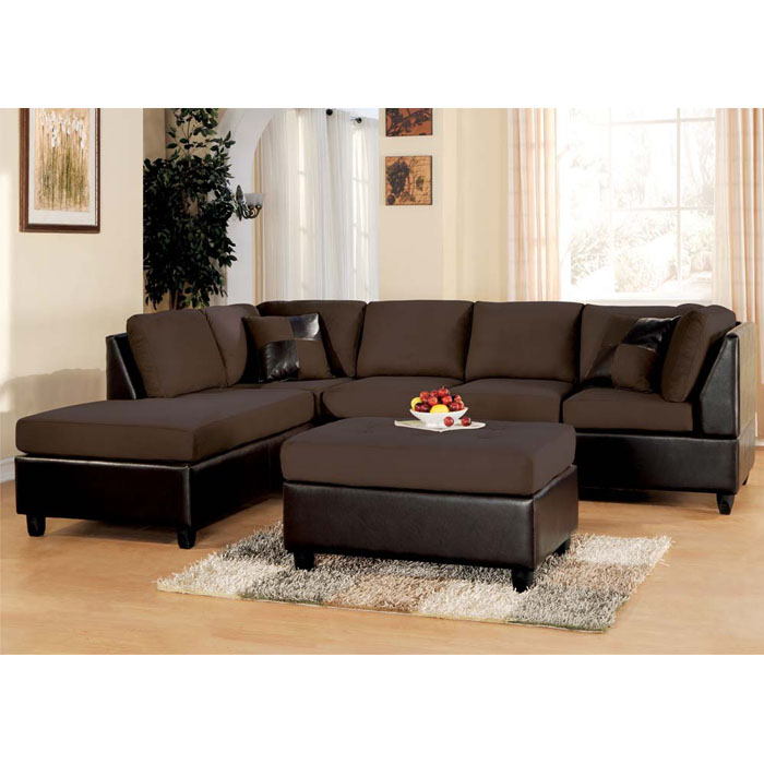 Lisbon Set- Sectional Sofa + Ottoman - Chocolate Easy Rider