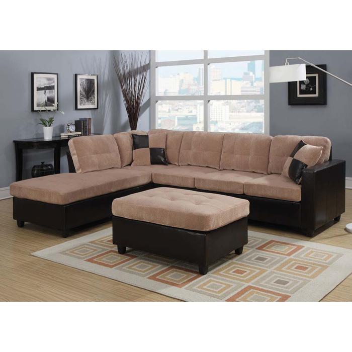 MILANO Set- Sectional Sofa + Ottoman - Camel