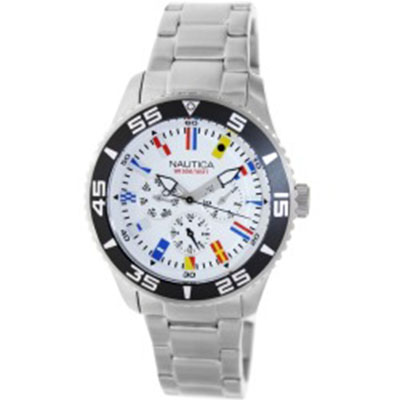NAUTICA MEN'S SILVERTONE STAINLESS STEEL BRACELET WHITE DIAL WATCH