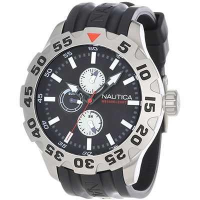 Nautica Men's N15564G BFD 100 Multifunction Black Dial Watch