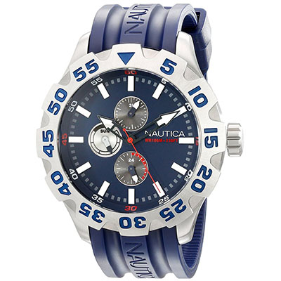 Nautica Men's N15578G BFD 100 Multifunction Stainless Steel Watch with Navy Band