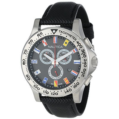Nautica Men's N19595G NST 600 Chrono Flag Classic Analog with Enamel Bezel Watch