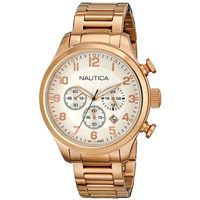 Nautica Men's N20117G BFD 101 Rose Gold-Tone Chronograph Watch